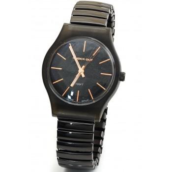 Reloj malla extensible negro fondo negro y rosse 30mm