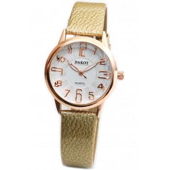 Reloj malla simil cuero dorado centro blanco 33mm