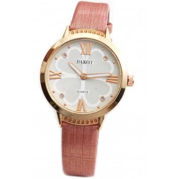 Reloj malla simil cuero rosa salmon centro blanco 33mm
