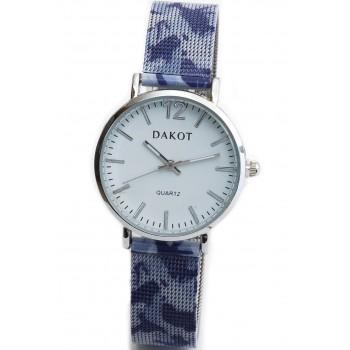 Reloj malla tejida pintada azul lila fondo blanco 30mm