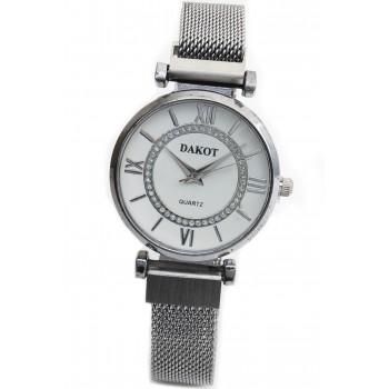 Reloj malla metalica tejida fondo blanco 32mm