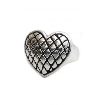 Anillo de plata inflado corazón centro rombos