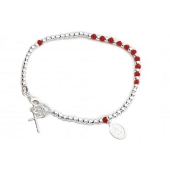 Pulsera de plata bolitas cristal rojo rosario 3mm 18cm