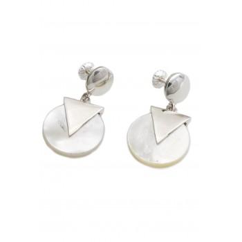 Aros de plata círculo nácar triangulo liso 17mm