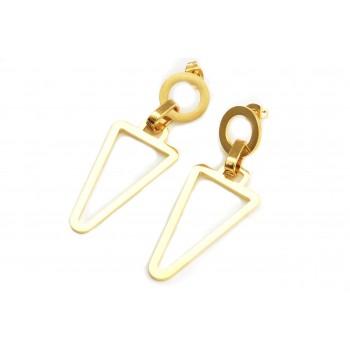 Aros de acero dorado colgante triangulo calado 47mm