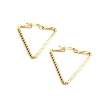 Aros de acero dorado argolla triangulo 50mm