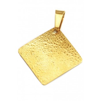 Dije de acero dorado rombo 32mm