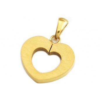 Dije de acero dorado corazón calado 16mm