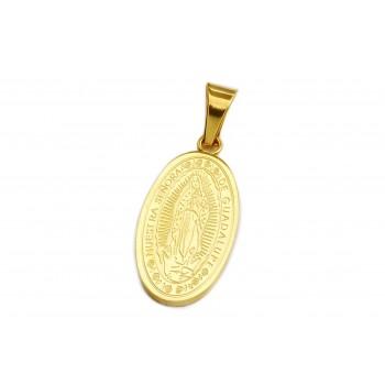 Aros de acero dorado ovalo virgen guadalupe 30mm