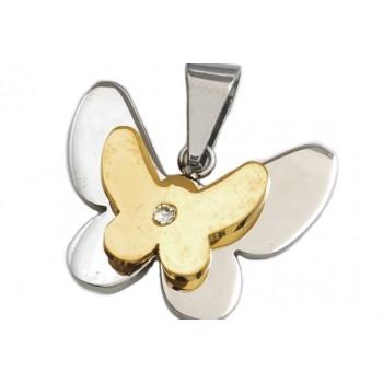 Dije de acero mariposa combinada 15mm