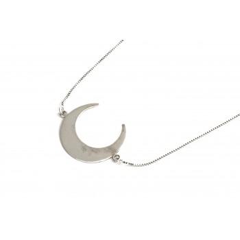 Colla de plata luna invertida 40cm