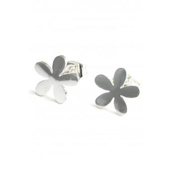 Aros de acero plateado flor lisa 10mm