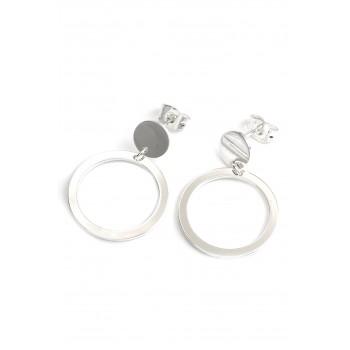Aros de acero plateado colgante boton círculo calado 28mm