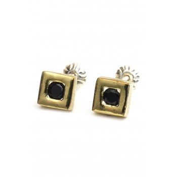Aros de plata con duble cuadrado centro cubic negro 7mm