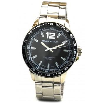 Reloj malla metalica fondo negro borde negro 43mm