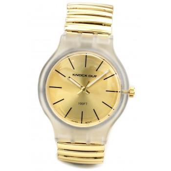 Reloj malla extensible dorado centro dorado liso 35mm