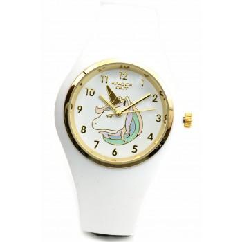 Reloj caucho blanco centro blanco con unicornio 35mm