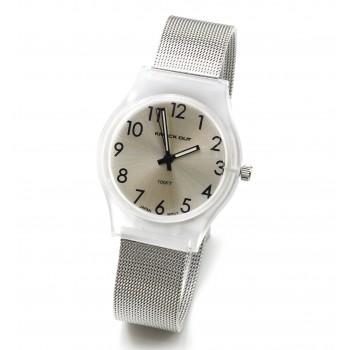 Reloj malla tejida dorado centro blanco dorado 28mm