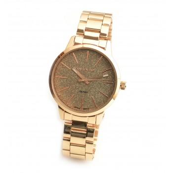 Reloj malla metalica plateado fondo glitter con rosse 36mm
