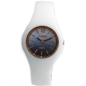 Reloj malla caucho color turquesa centro glitter 28mm