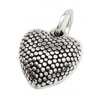 Dije de plata inflado corazón punteado 21mm