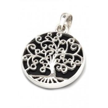 Dije de plata árbol de la vida fondo piedra negra 24mm