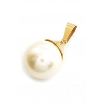 Dije de acero dorado con perla 20mm