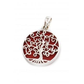 Dije de plata árbol de la vida fondo piedra roja 24mm