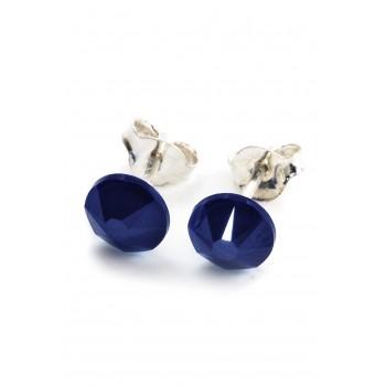 Aros de plata boton azul opaco 6mm