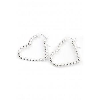 Aros de plata argollas corazón con bolitas 20mm