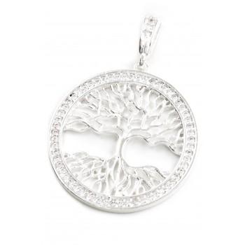 Dije de plata árbol de la vida borde cubic 32mm