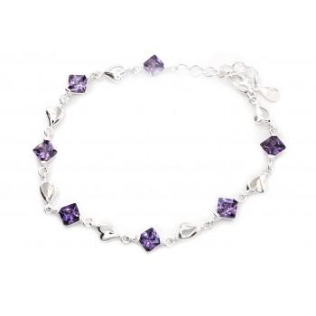 Pulsera de plata rombo violeta con corazón 20cm