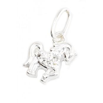 Dije de plata unicornio con micropavé 11mm