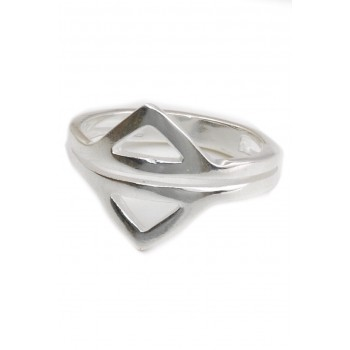 Anillo de plata dos triangulos calados