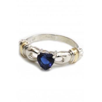 Anillo de plata corazon cubic azul