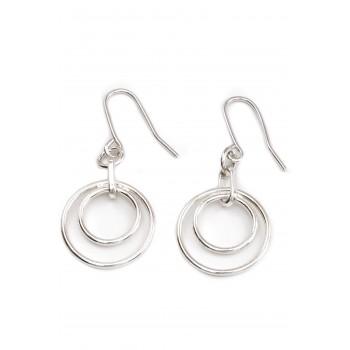 Aros de plata colgantes doble círculo calado 10mm