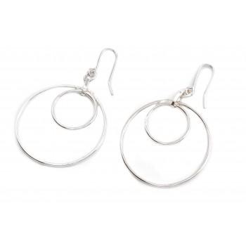 Aros de plata colgantes doble círculo calado 15mm
