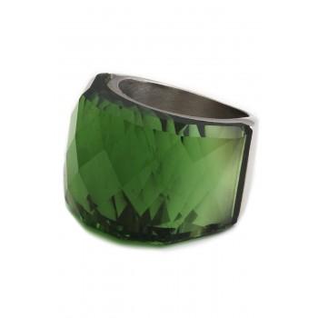 Anillo de Acero cristal facetado verde