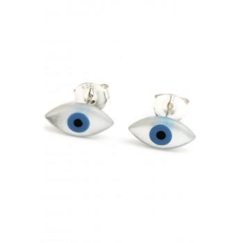 Aros de plata ojo turco fondo blanco 12mm