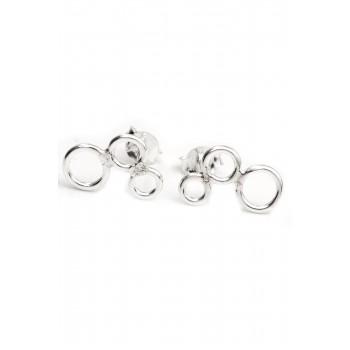 Aros de plata tres círculos calados 13mm