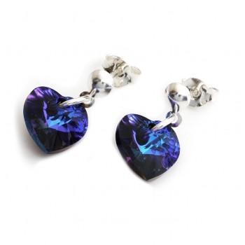 Aros de plata colgante corazón cristal 10mm