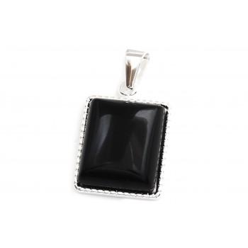 Dije de acero plateado cuadrado piedra negra 30mm