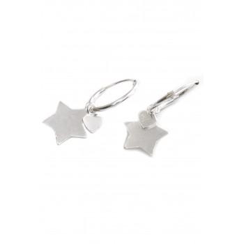 Aros de plata argollita mini corazón y estrella 15mm