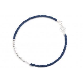 Pulsera de plata mini cristal azul mate con bolitas 18cm