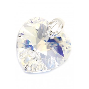 Dije de plata corazón cristal 18mm