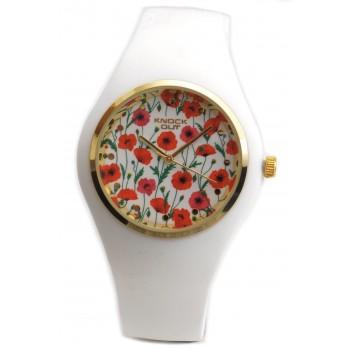 Reloj caucho blanco centro con flores 35mm