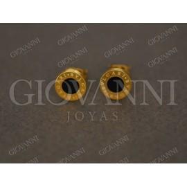 Aros de Acero dorados centro negro 8mm