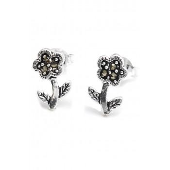 Aros de plata mini flor con marquesita 11mm