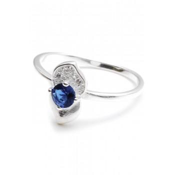 Anillo de plata centro cubic azul dos petalos