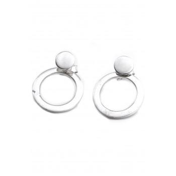 Aros de plata colgante mini boton con círculo calado 15mm